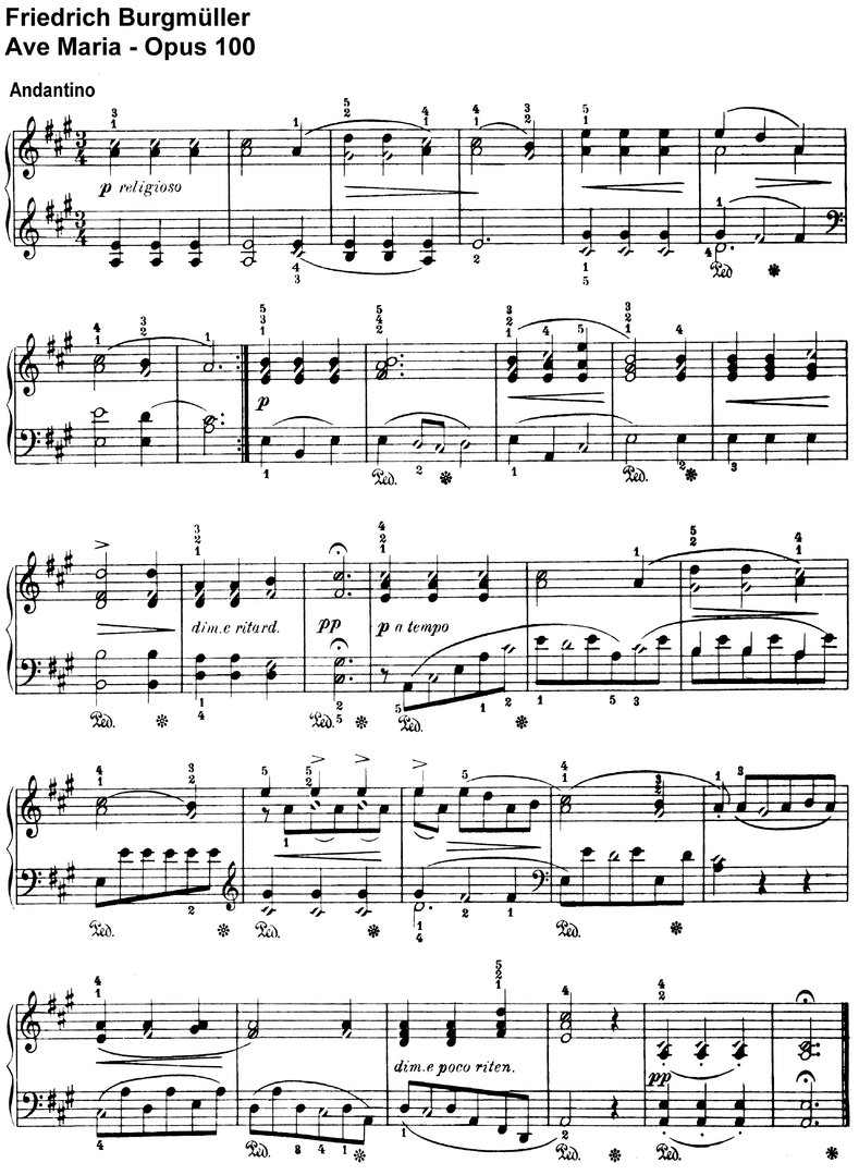 Burgmüller - Ave Maria - 1 Page
