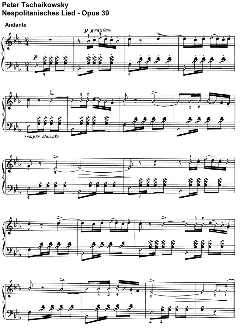 Tschaikowsky - Neapolitanisches Lied Opus 39 - pages