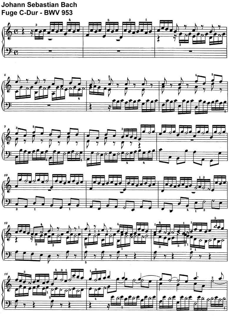 Bach - Fuge C-Dur BWV 952 + 953 - 4 Pages
