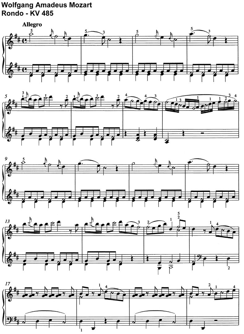 Mozart - Rondo KV 485 - 8 Pages