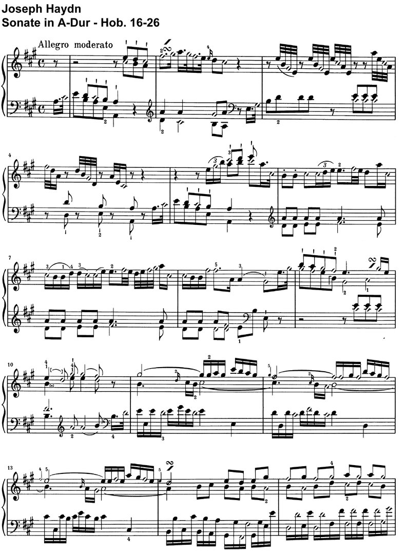 Haydn - Sonate A-Dur - Hob 16-26 - 8 pages