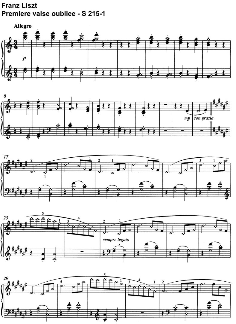 Liszt - Premiere valse oubliee - 6 Pages