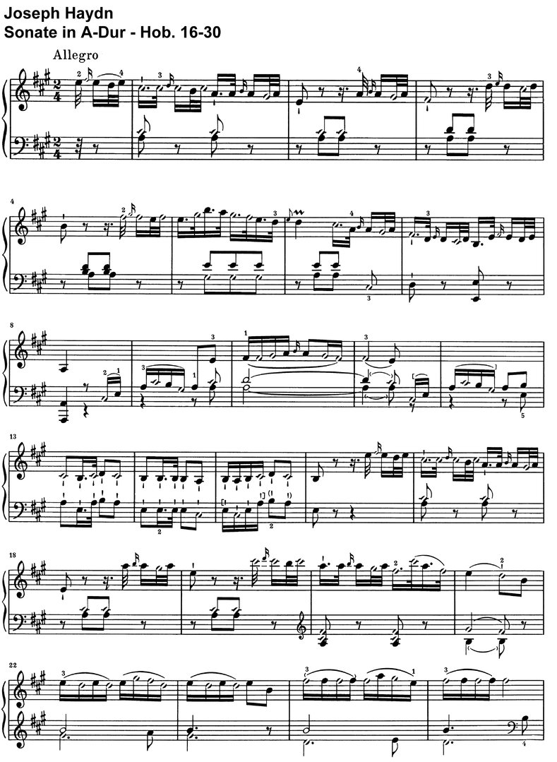 Haydn - Sonate A-Dur - Hob 16-30 - 10 pages