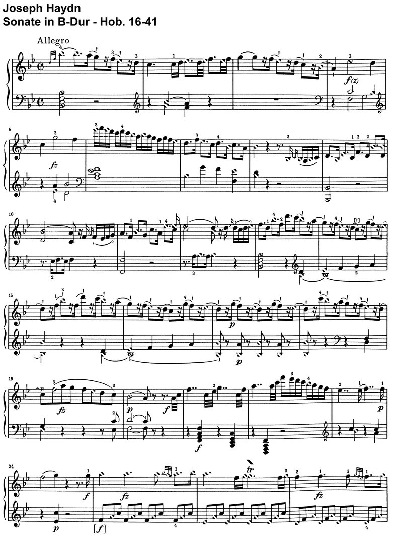Haydn - Sonate B-Dur - Hob 16-41 - 8 pages