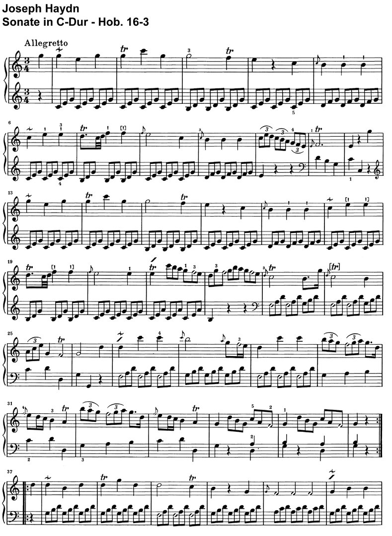 Haydn - Sonate C-Dur - Hob 16-03 - 6 pages