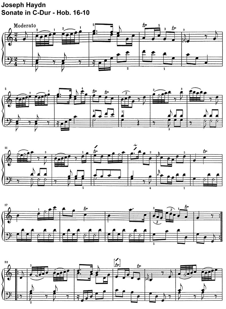 Haydn - Sonate C-Dur - Hob 16-10 - 6 pages