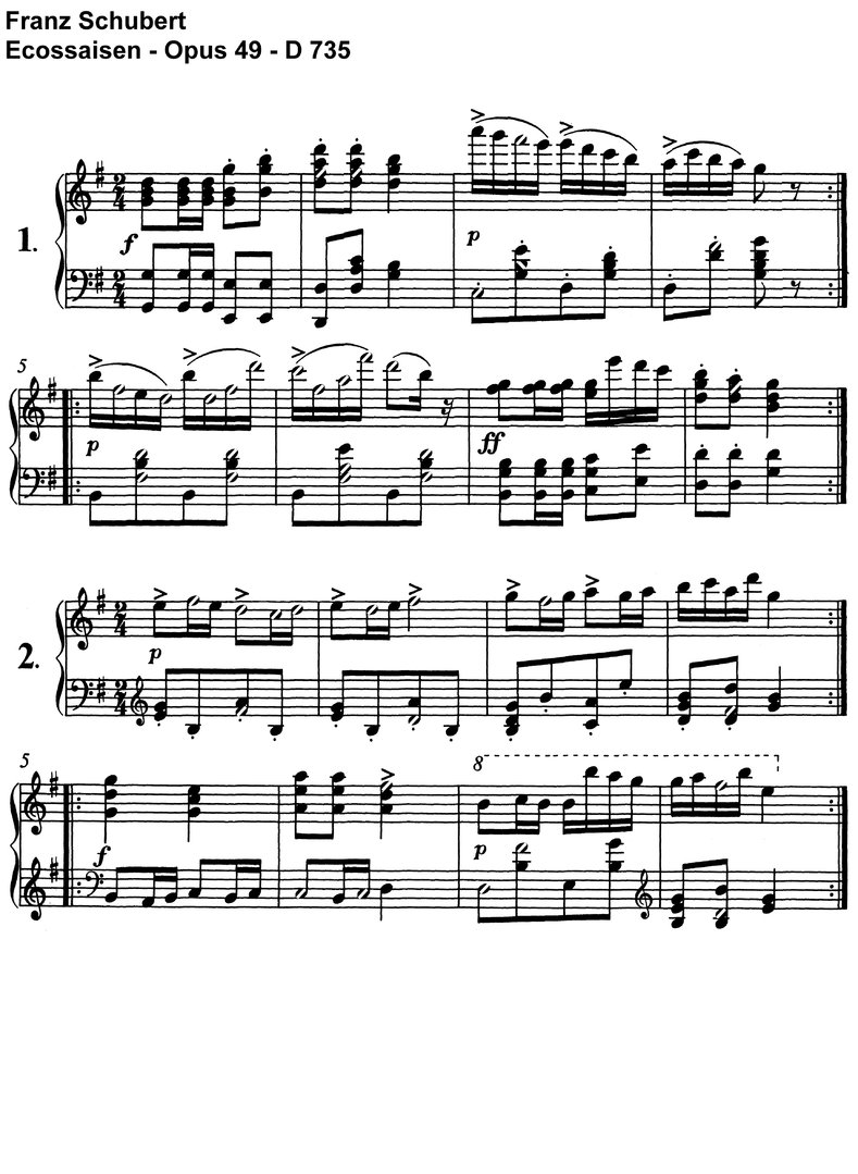 Schubert - 13 Ecossaisen - 7 Pages