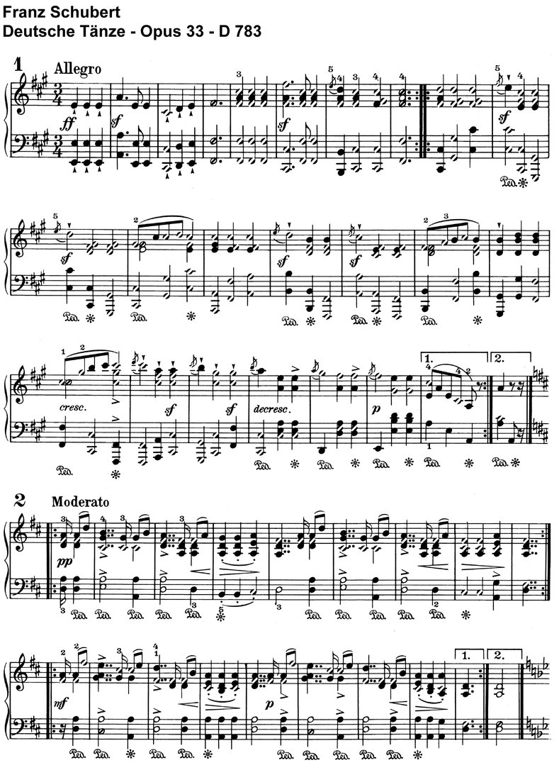Schubert - 19 Deutsche Tänze - 10 Pages