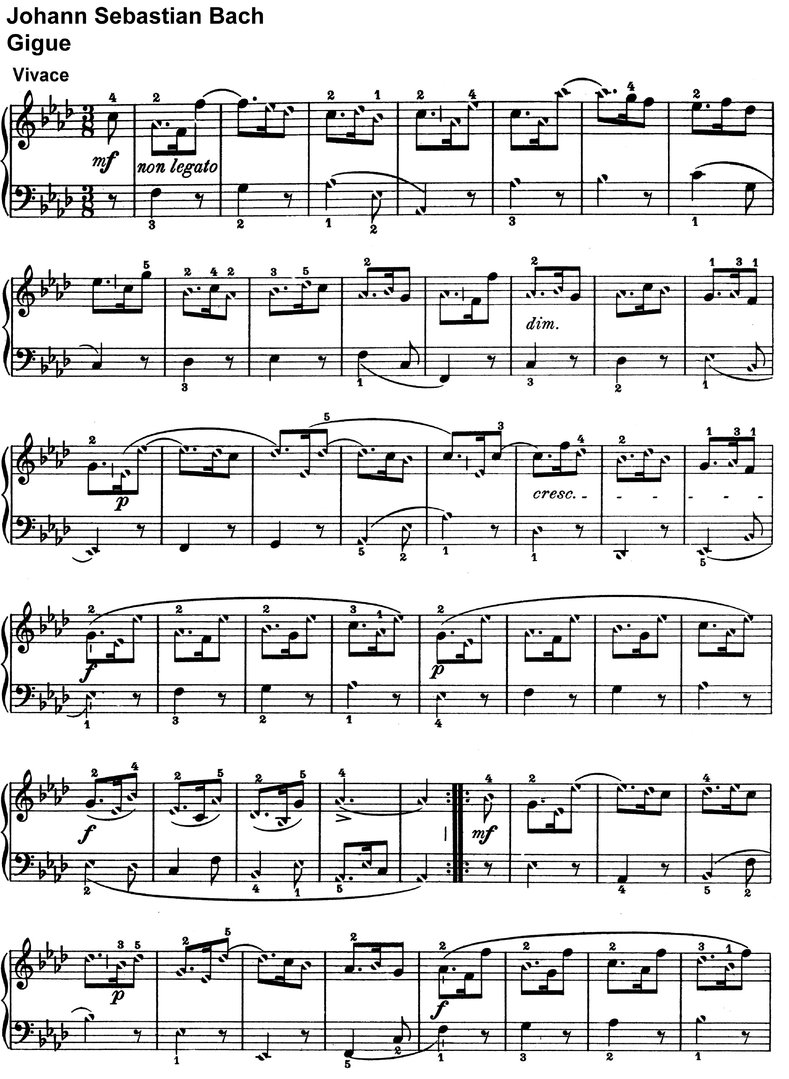 Bach, Johann Sebastian - Gigue - 2 Pages