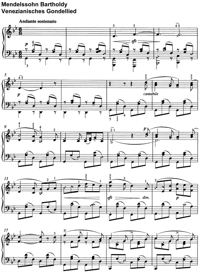 Mendelssohn - Venezianisches Gondellied - 2 Pages piano sheet music