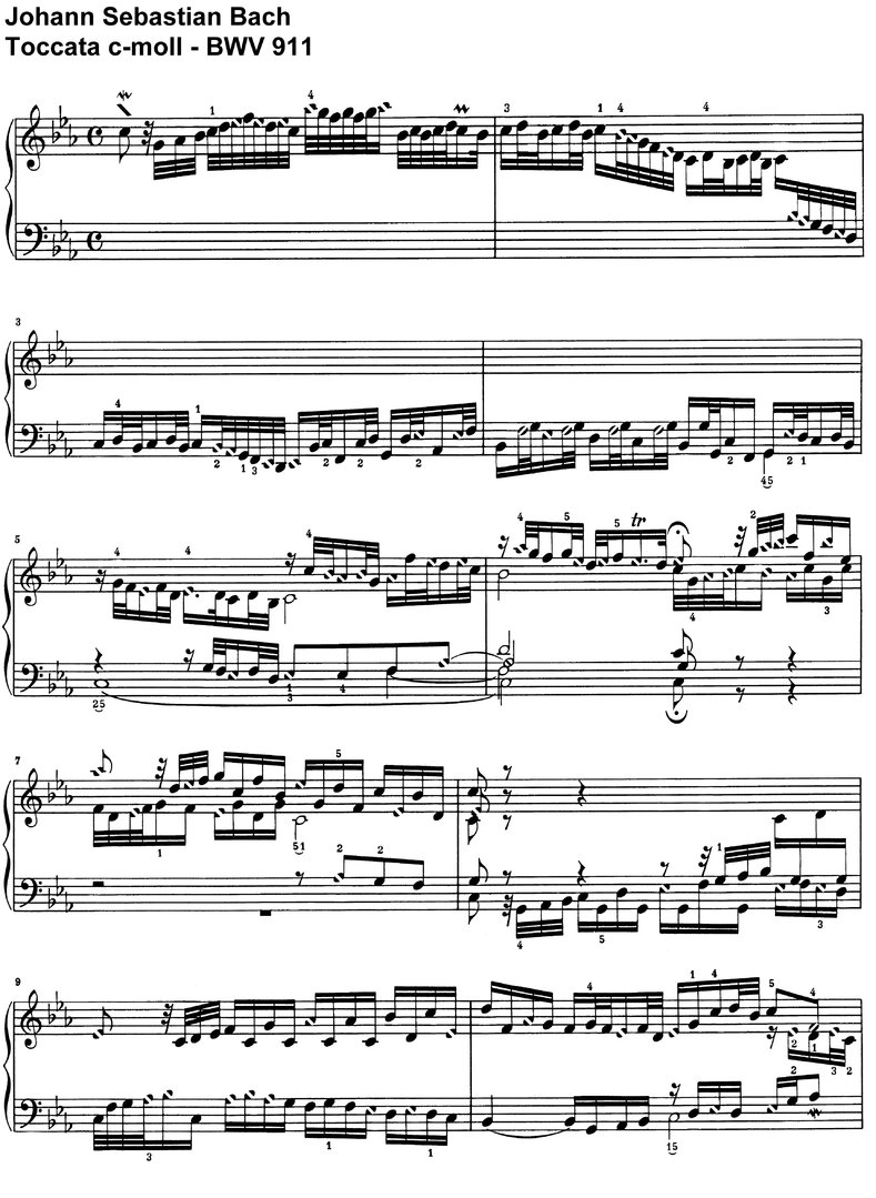 Bach, J S - Toccata c-moll BWV 911 - 13 Pages