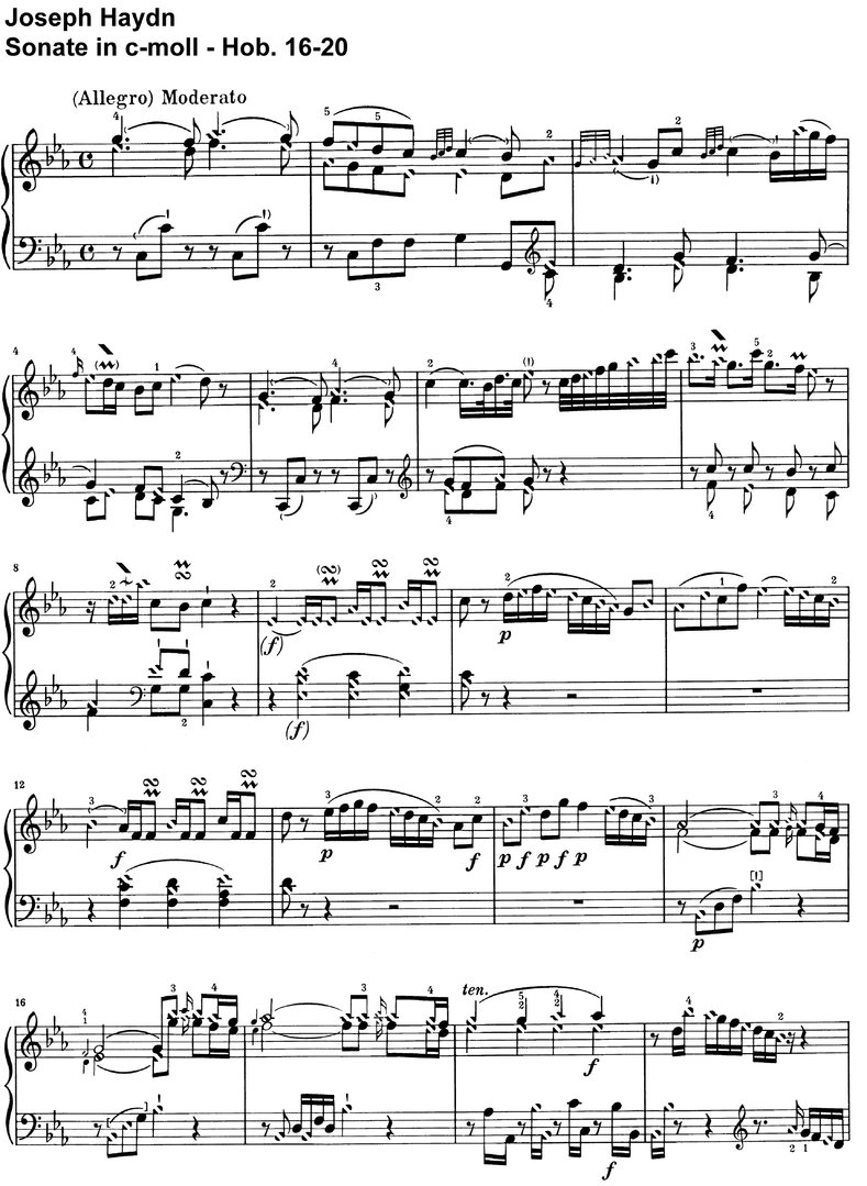 Haydn - Sonate c-moll - Hob 16-20 - 13 pages