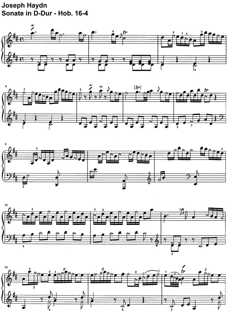 Haydn - Sonate D-Dur - Hob 16-04 - 4 pages