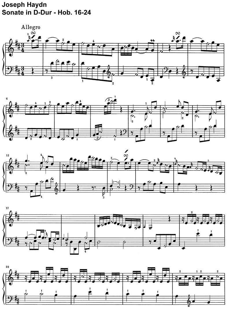 Haydn - Sonate D-Dur - Hob 16-24 - 10 pages