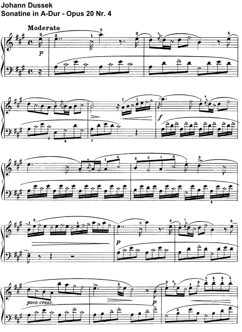 Dussek - Sonatine  Opus 20 Nr 4 in A-Dur - 6 pages