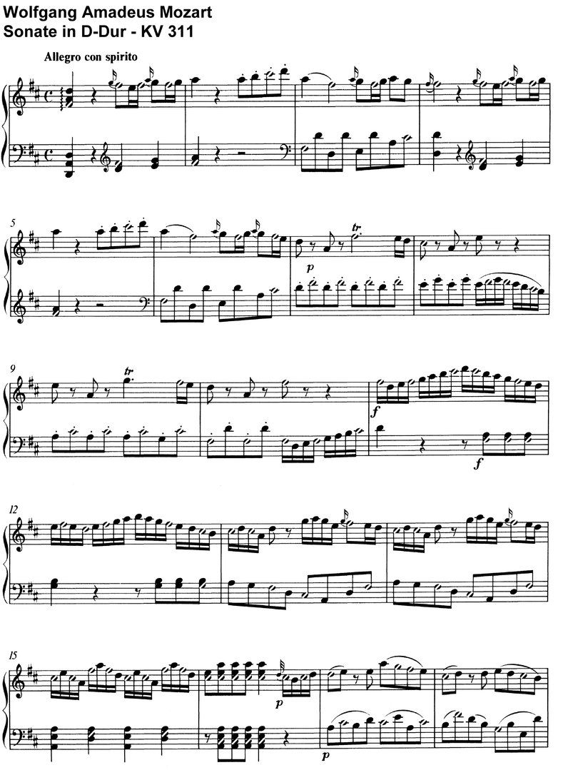 Mozart - Sonate D-Dur - KV 311 - 21 pages