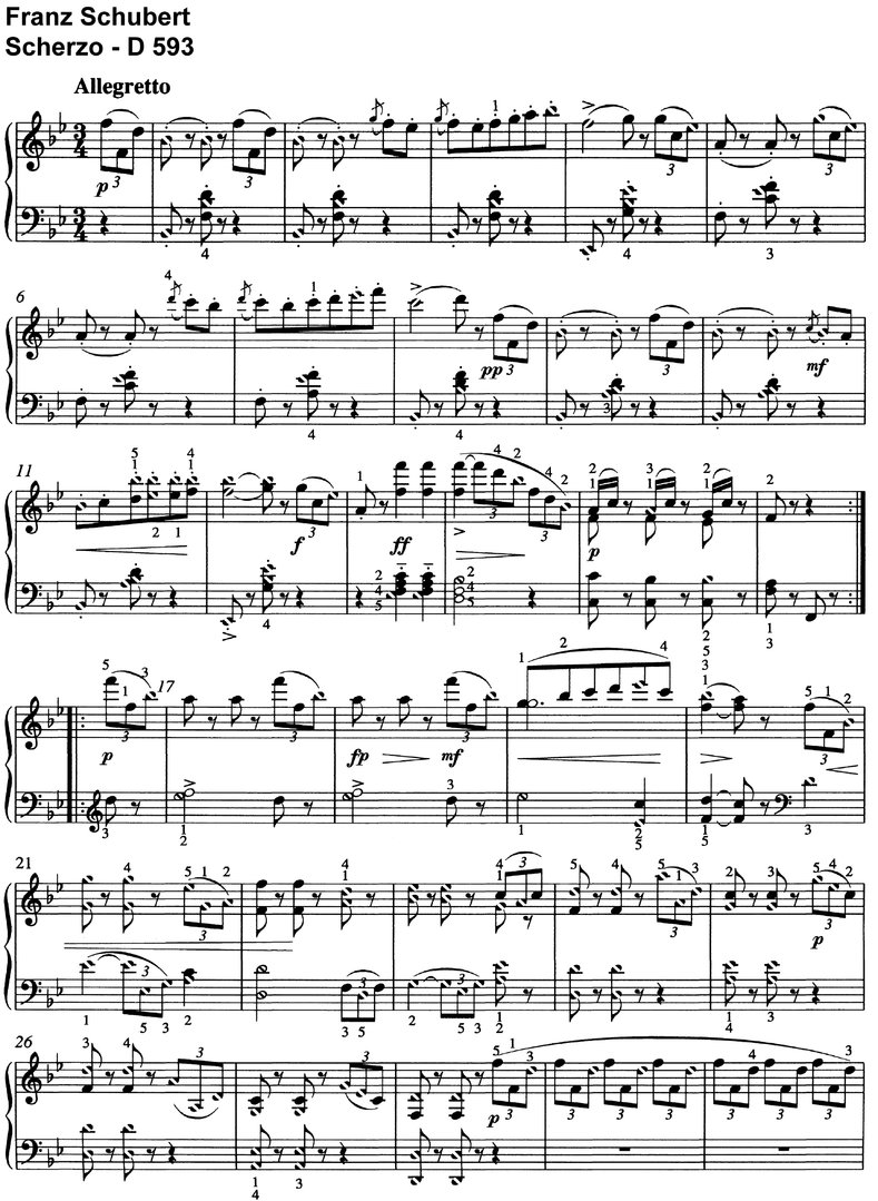 Schubert - Scherzo - D 593 - 3 Pages