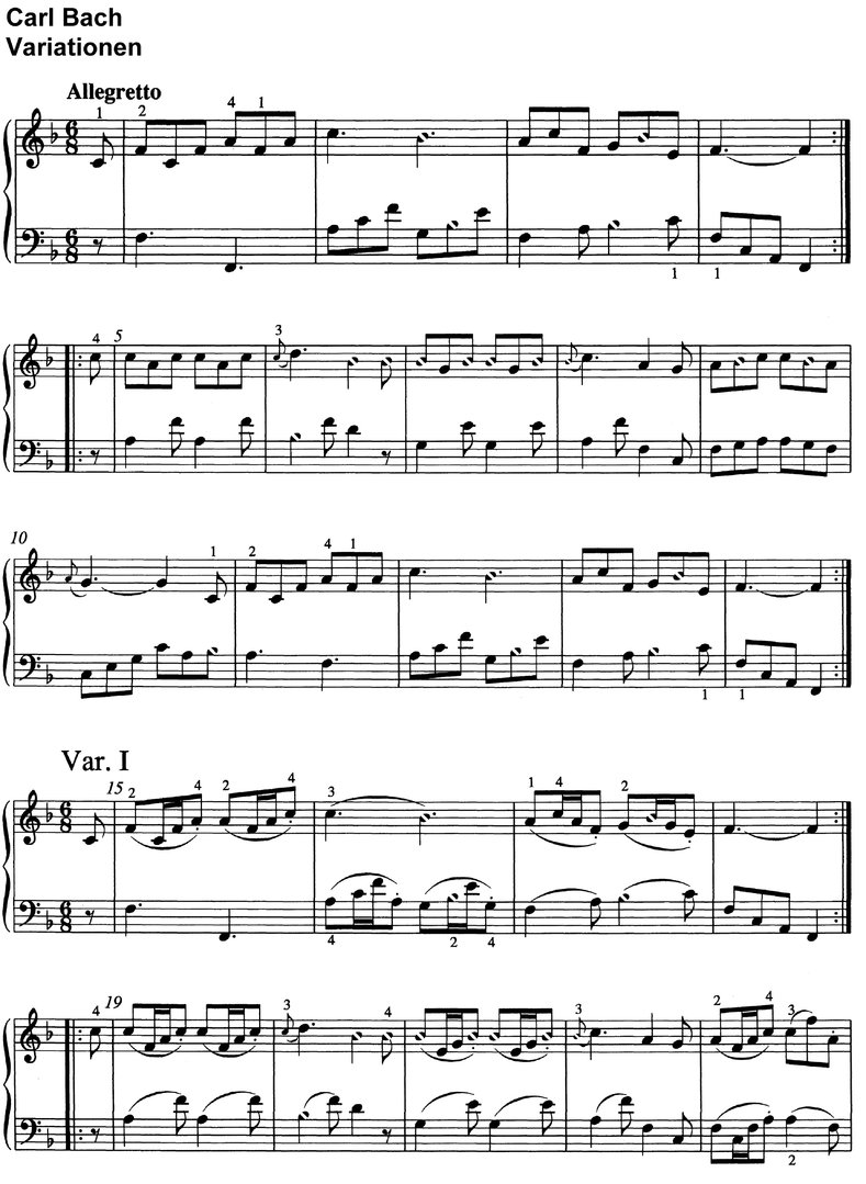 Bach, Carl Philipp - Variationen - 6 pages