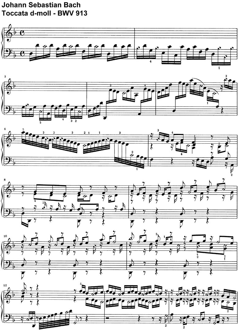 Bach, J S - Toccata d-moll BWV 913 - 14 Pages