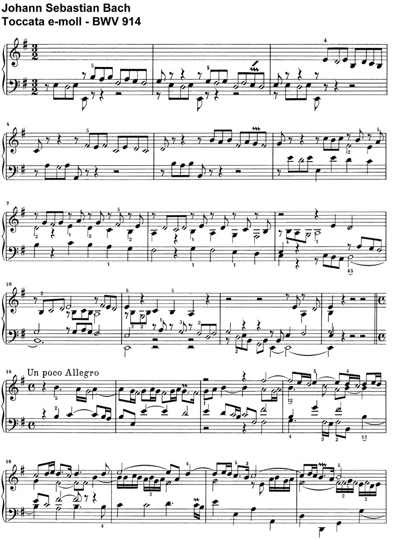 Bach, J S - Toccata e-moll BWV 914 - 9 Pages
