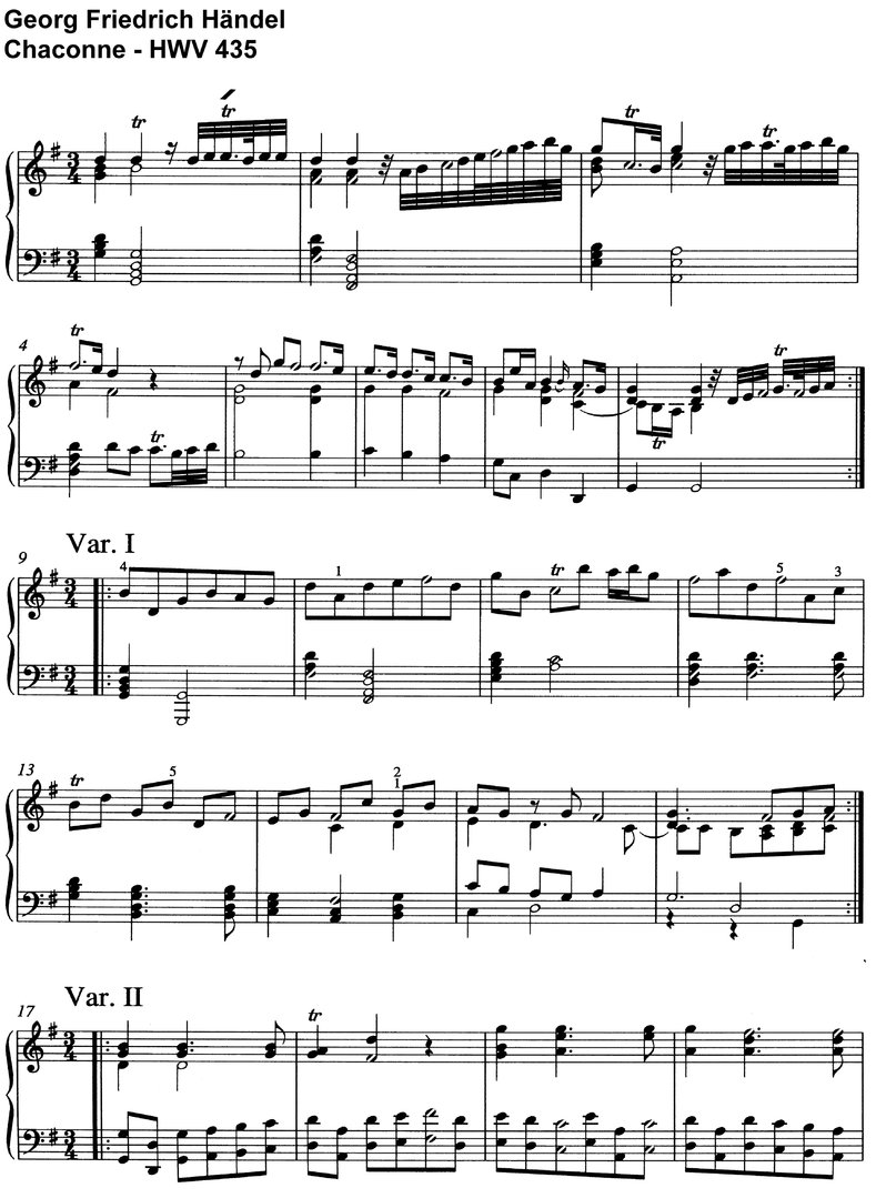Händel, Georg - Chaconne HWV 435 - 8 Pages