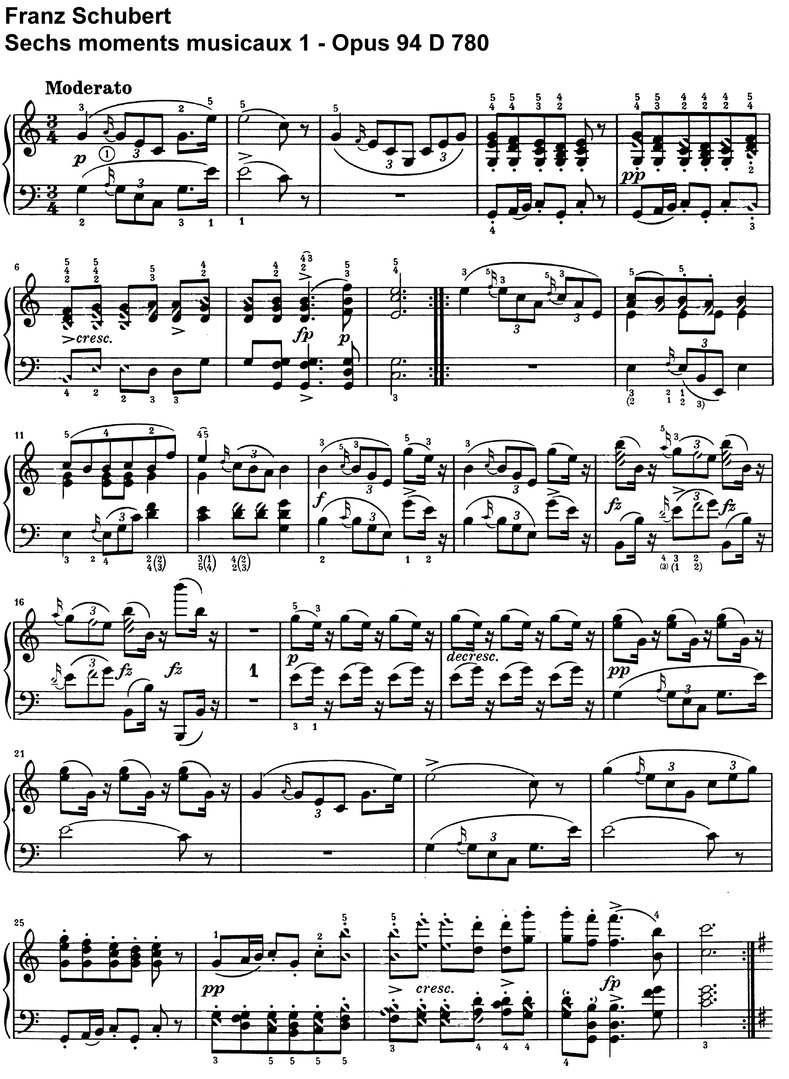 Schubert - Sechs moments musicaux - Opus 94 - 20 Pages