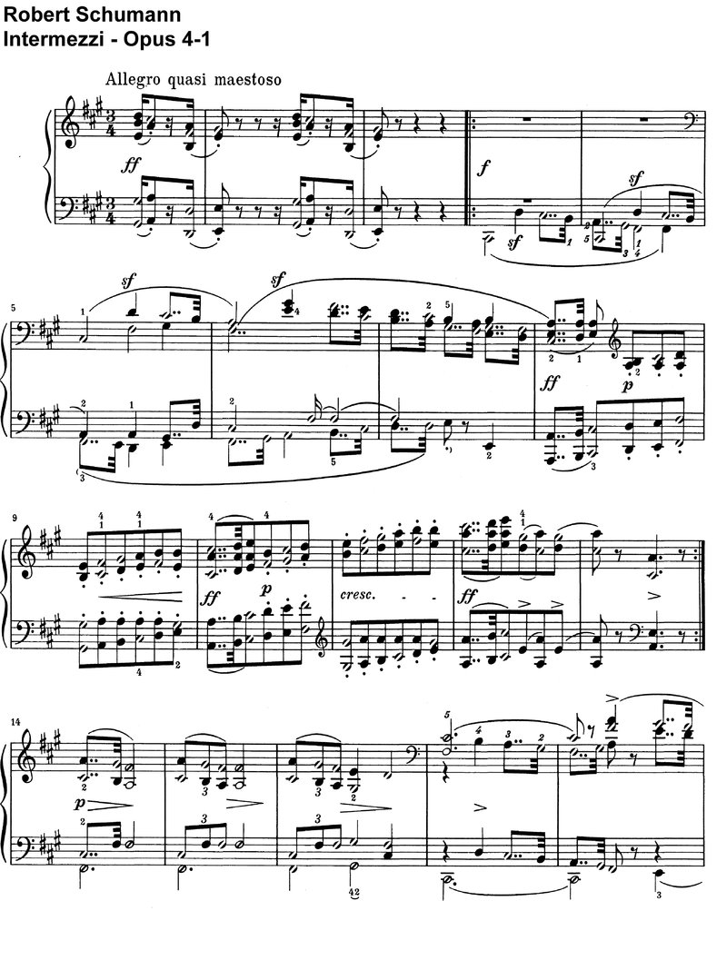 Schumann, Robert - Intermezzi - Opus 4 - 32 Pages