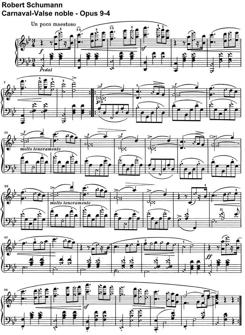 Schumann, Robert - Carnaval - Opus 9 - piano sheet music
