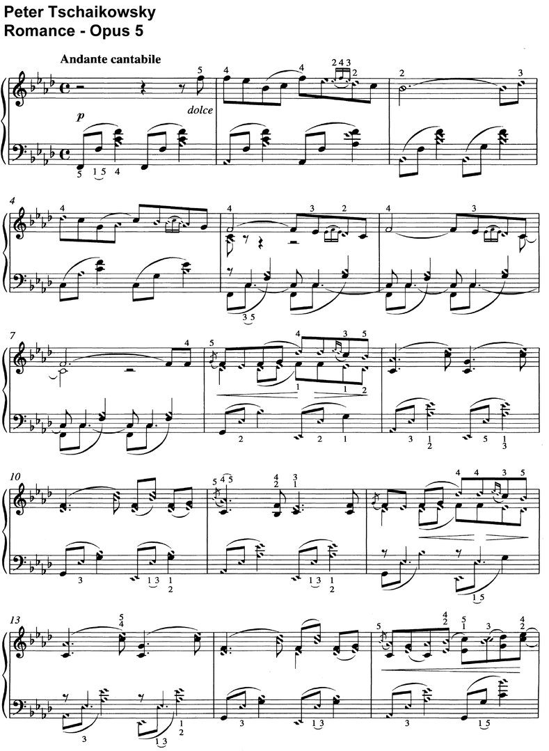 Tschaikowsky - Romance - Opus 5 - 6 pages