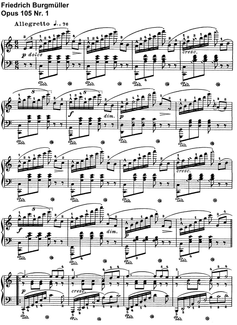 Burgmüller - Opus 105 - 35 Pages 12 Title