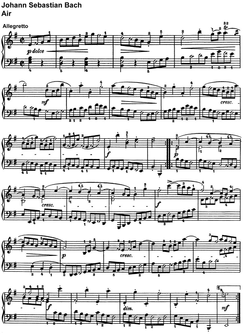 Bach, Johann Sebastian  - Air - 2 Pages