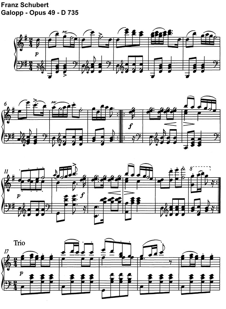 Schubert - Galopp - D 735 Opus 49 - 2 Pages