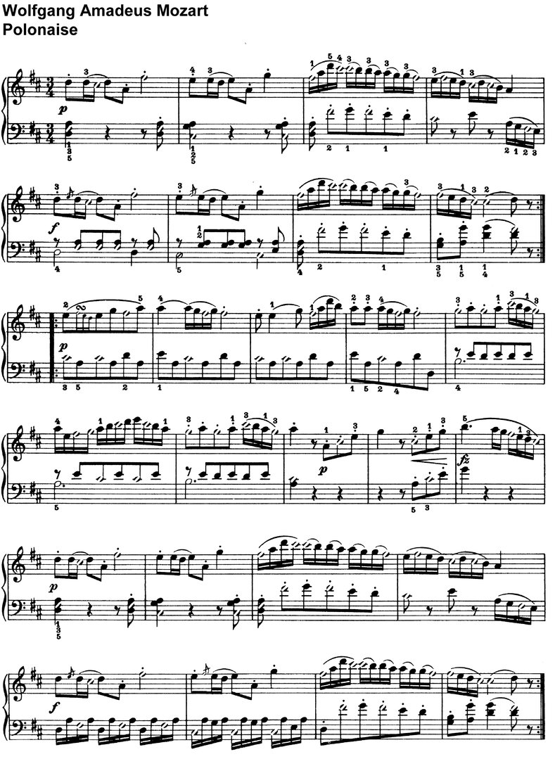 Mozart - Polonaise - 1 Page