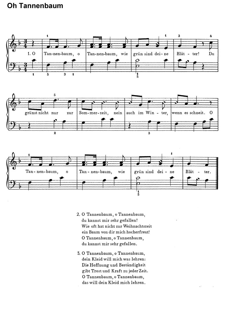 O Tannenbaum Text Deutsch.Oh Tannenbaum In 5 Versionen Piano Sheet Music Download