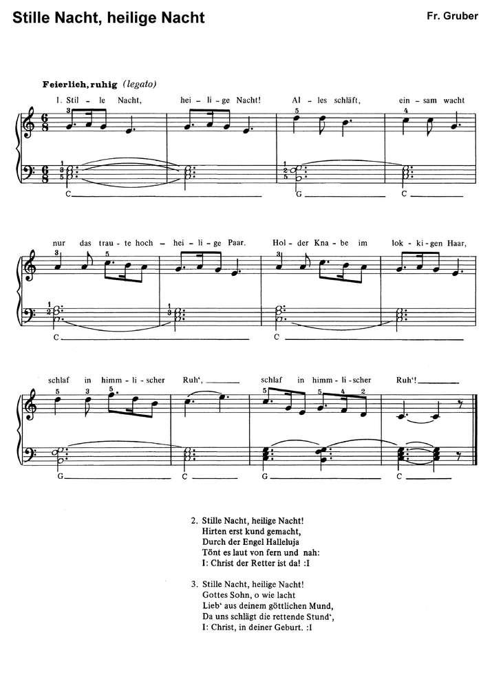 Stille Nacht Heilige Nacht In 6 Var Klaviernoten Download
