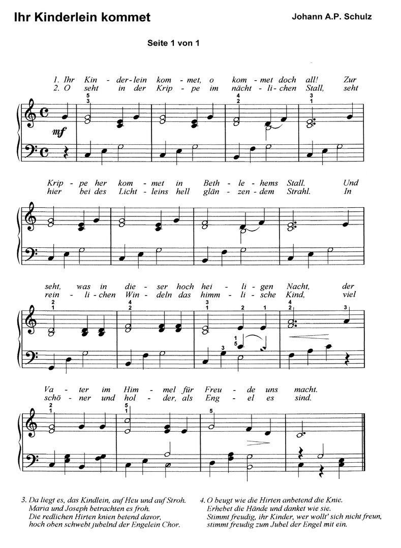Ihr Kinderlein kommet in 6 Var. - piano sheet music