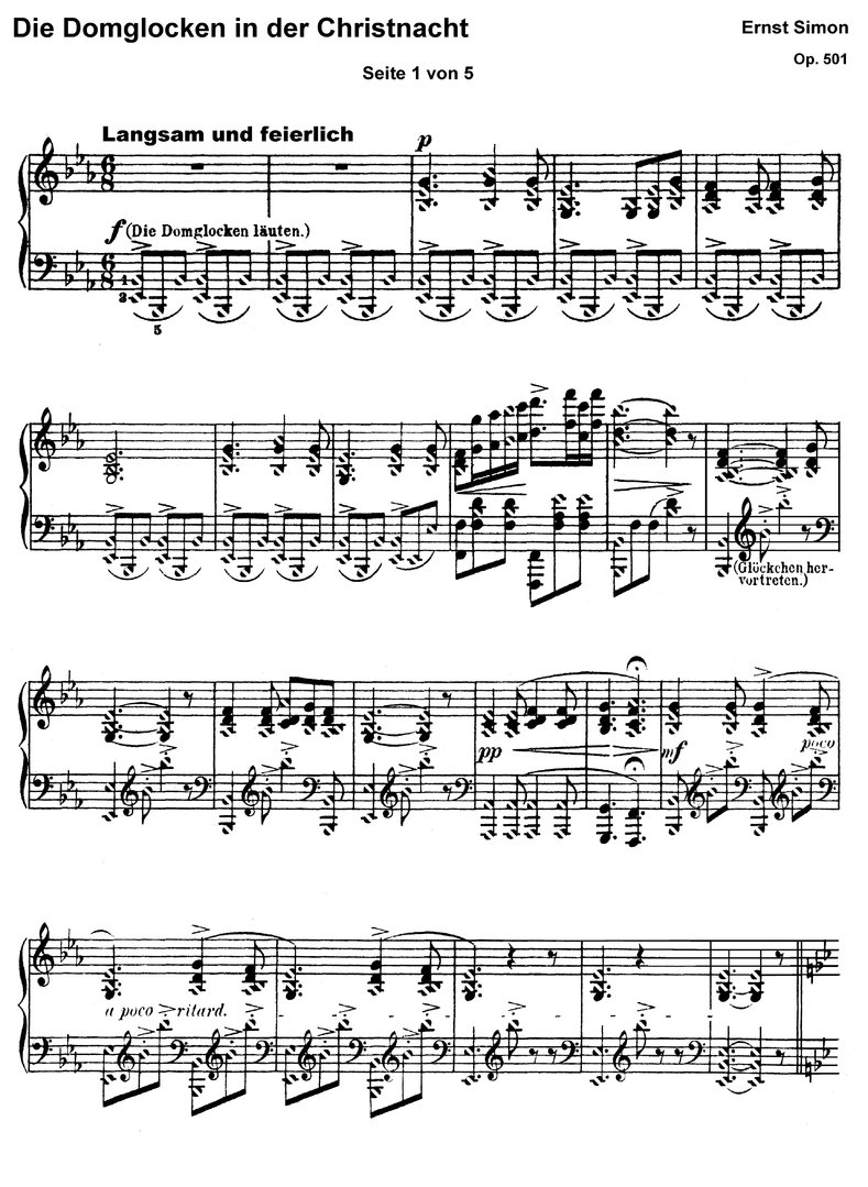 Die Domglocken in der Christnacht - piano sheet music