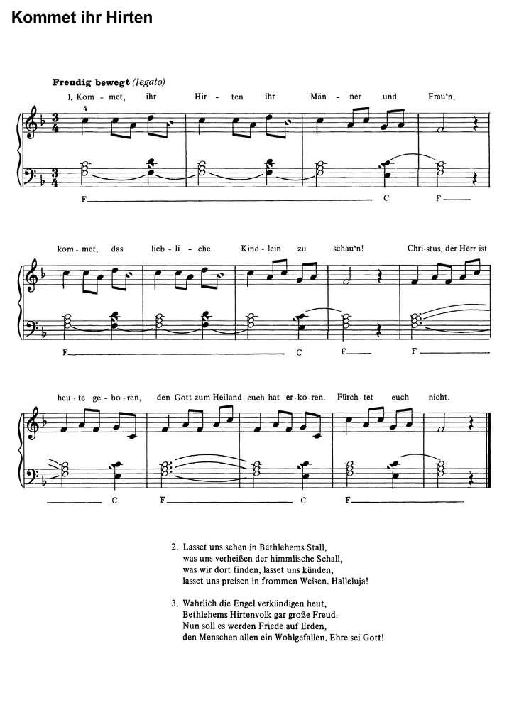 Kommet Ihr Hirten In 6 Var Klaviernoten Download