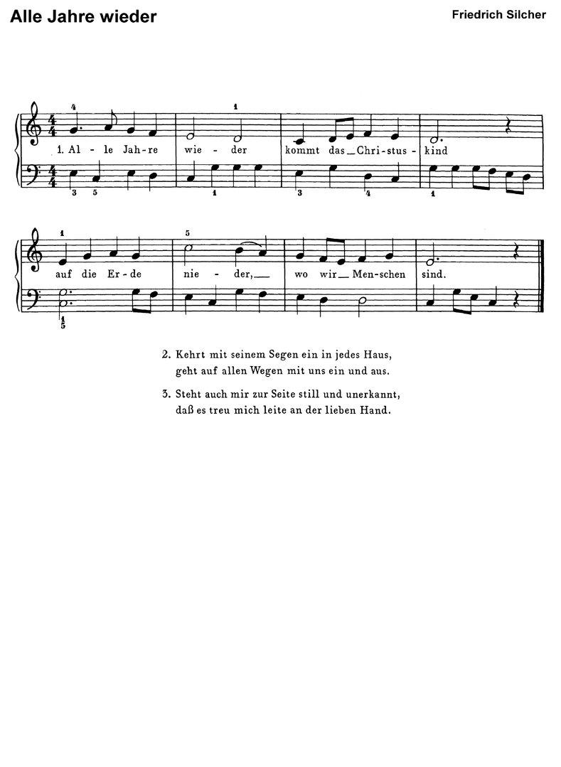 Noten Keyboard Weihnachtslieder Kostenlos.10 Bekannte Weihnachtslieder 1 Klaviernoten Download