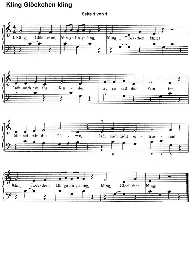 Exquisit Kling Glöckchen Beste Wahl Christmas Songs 1 - Piano Sheet Music