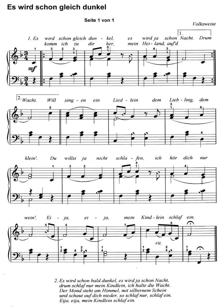 Schöne Weihnachtslieder.10 Bekannte Weihnachtslieder 3 Klaviernoten Download