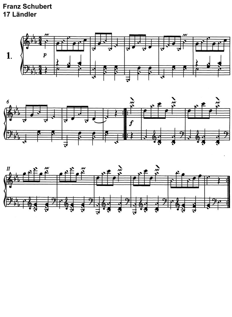 Franz Schubert - 17 Ländler D 145 - 8 pages