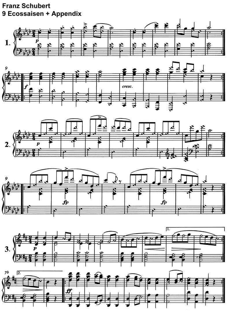 Franz Schubert - 9 Ecossaises D 145 - 6 pages