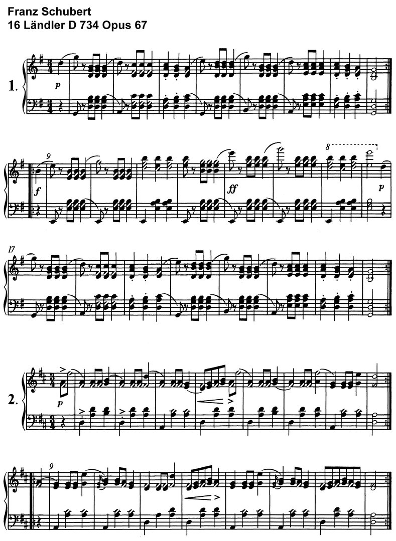 Schubert - 16 Ländler D 734 - 9 pages piano sheet music
