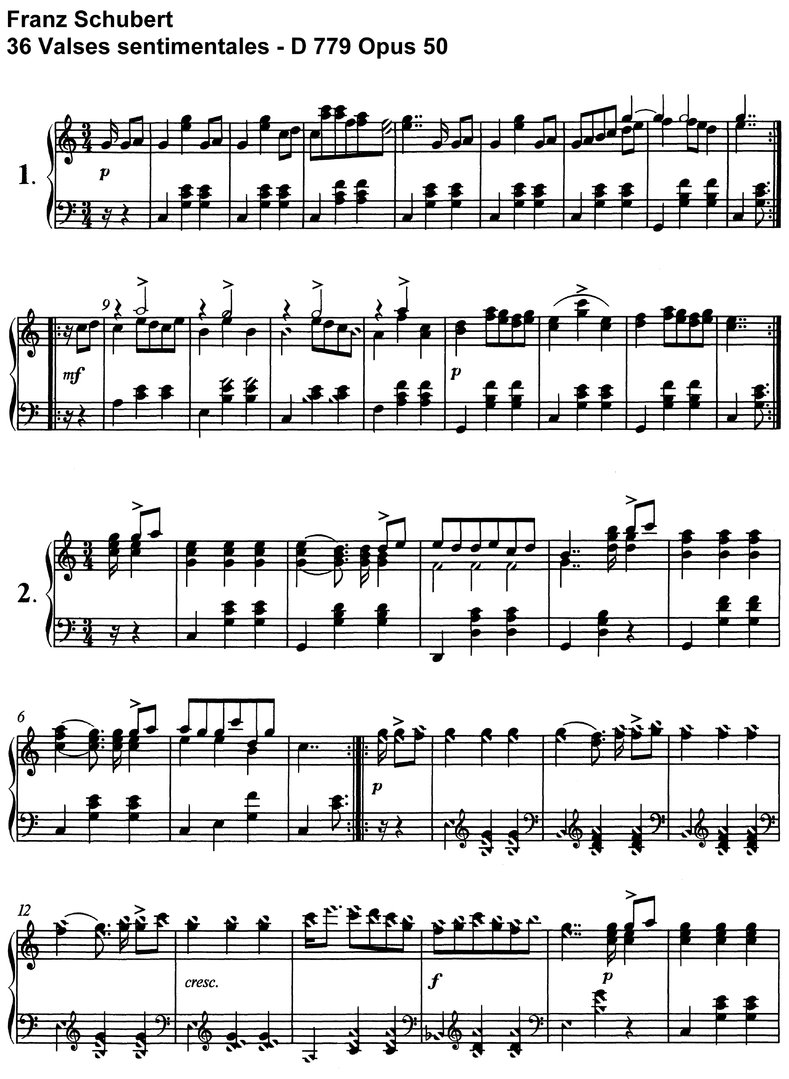 Schubert - 34 Valses sentimentales - Opus 50 - piano sheet music