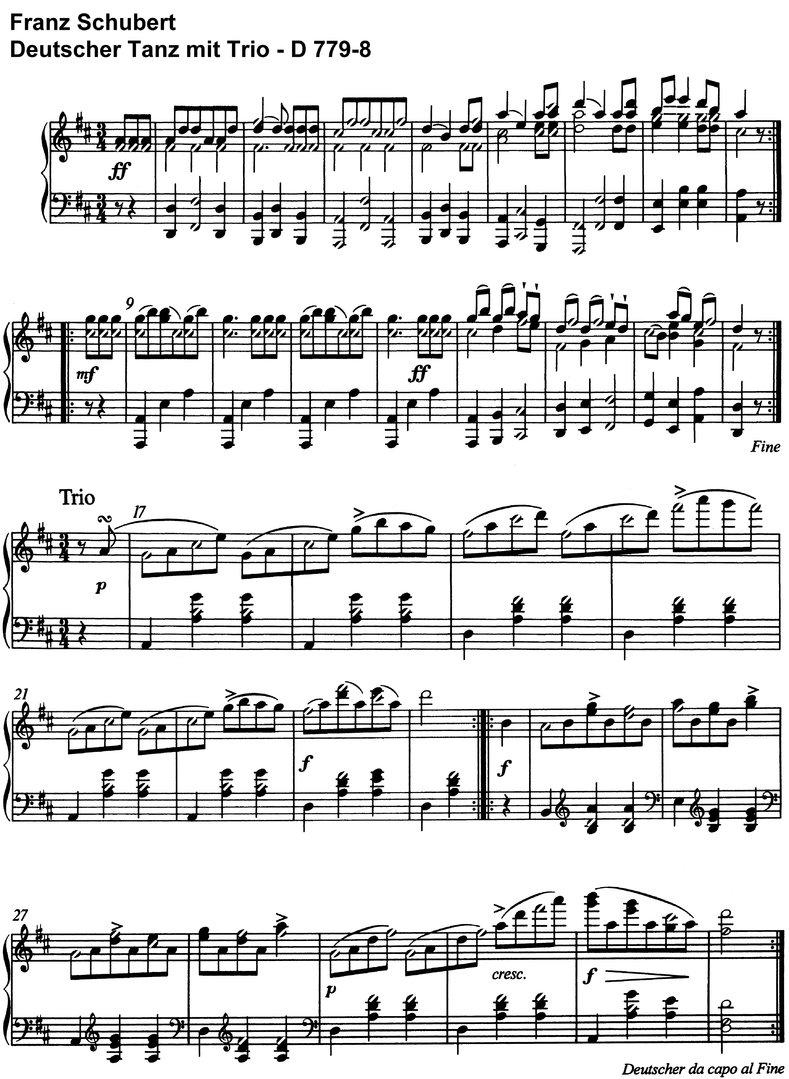 Schubert - 5 Deutsche Tänze - 4 pages piano sheet music