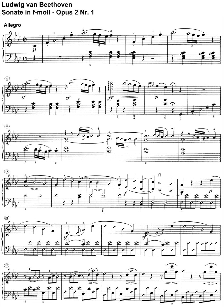 Beethoven - Sonate As-major Opus 2 Nr 1 - 16 pages