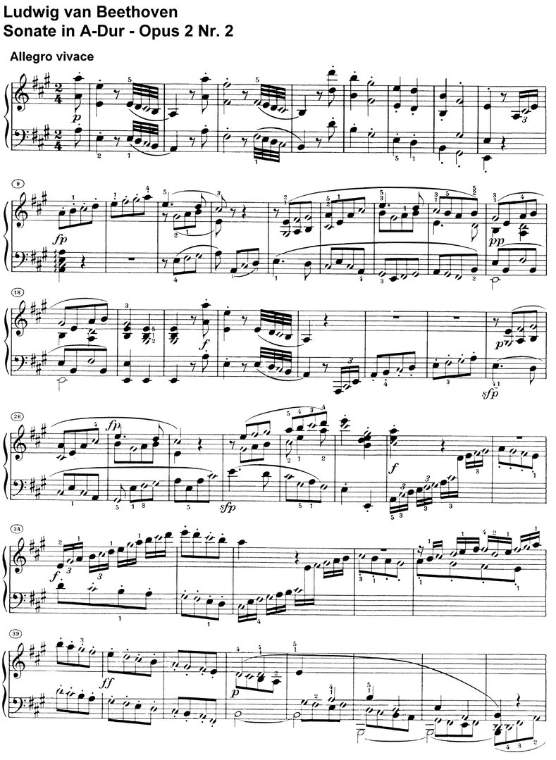 Beethoven - Sonate A-Dur Opus 2 Nr 2 - 23 pages