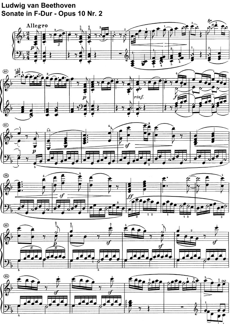 Beethoven - Sonate F-Dur Opus 10 Nr 2 - 14 pages