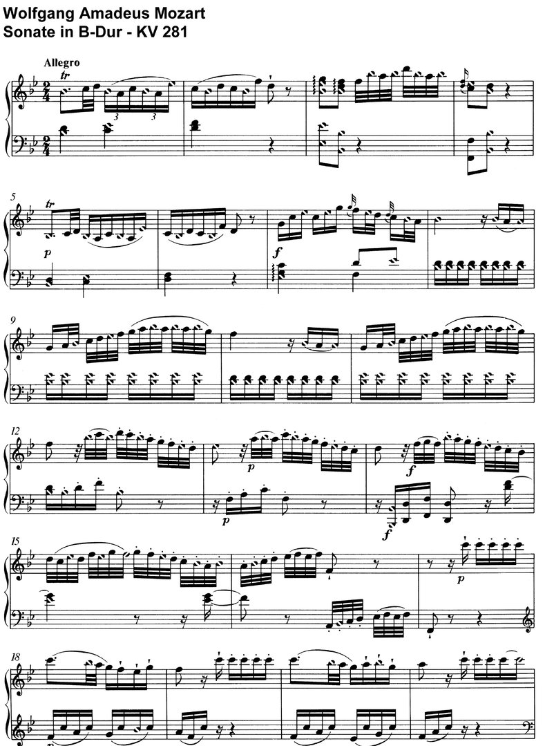 Mozart - Sonate B-Dur - KV 281 - 16 pages